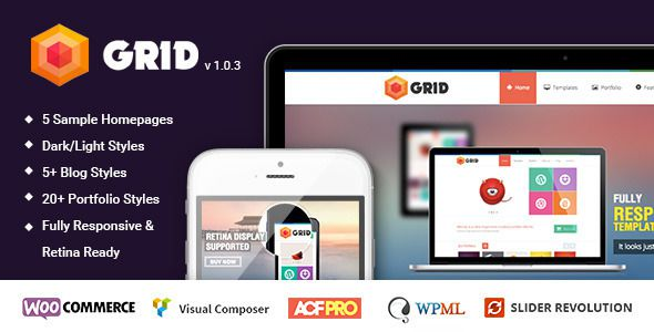 Grid WordPress Responsive Agency Portfolio Theme