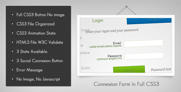 Connexion Form In Full Css3