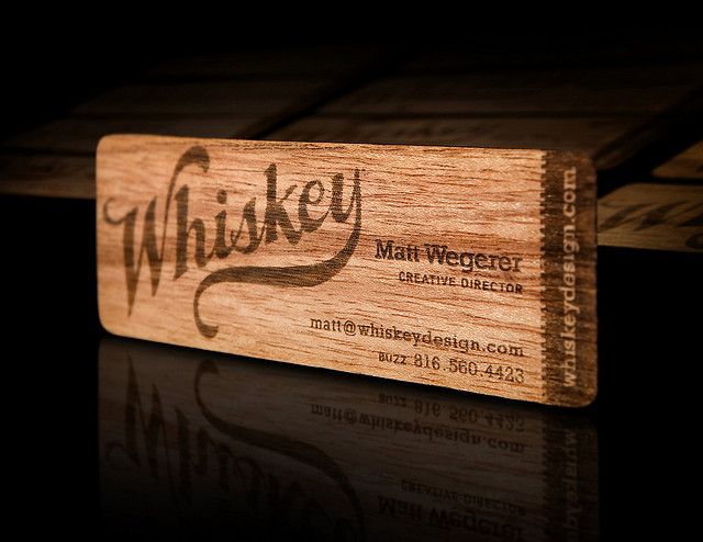 Whiskey Designs Wood Business Card