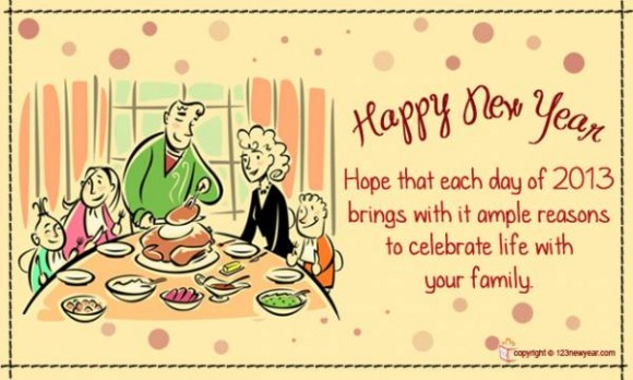 New Year Wishes for Family Cards