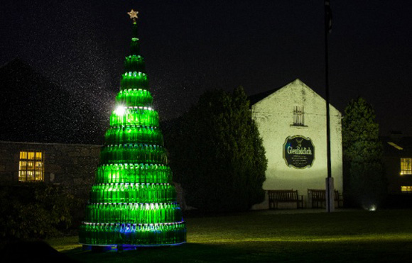 whisky bottle Christmas tree