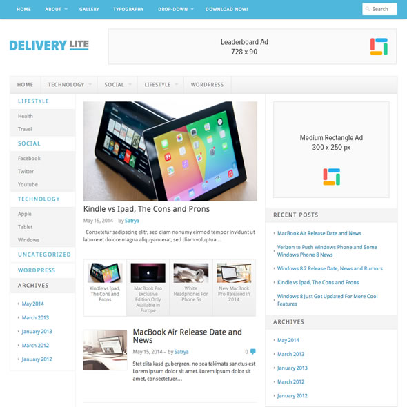 free wordpress theme delivery-lite