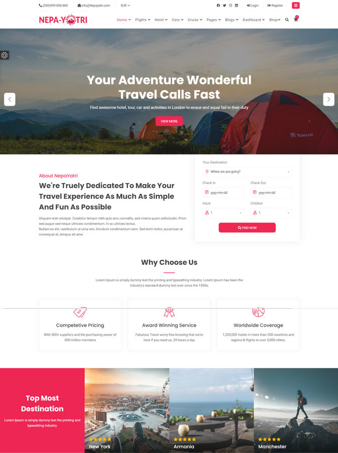 Nepayatri Tour Travel Template