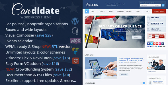 Candidate Nonprofit WordPress Theme