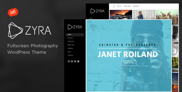 Zyra wp Fullscreen Photography Theme