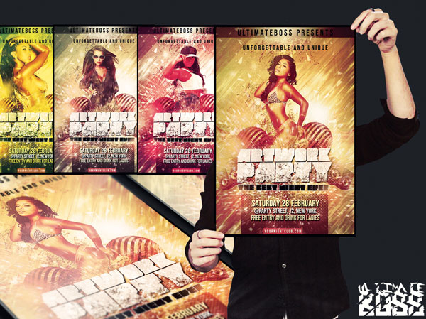 Artwork party flyer psd free template