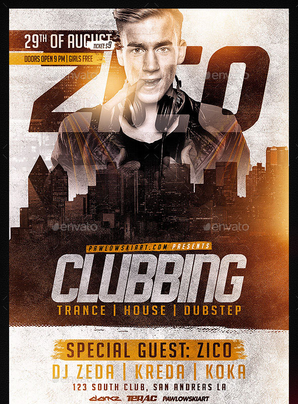 Clubbing Flyer Template PSD