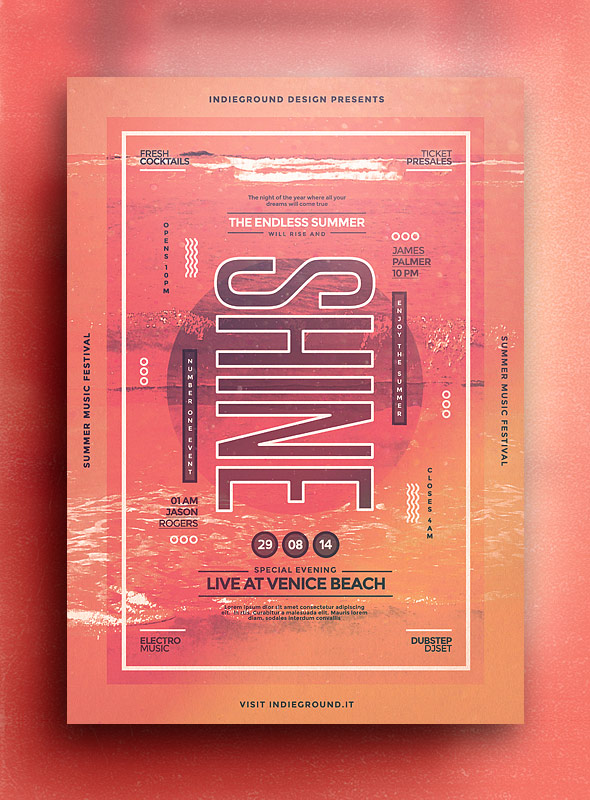 Shine Summer Festival Print Template
