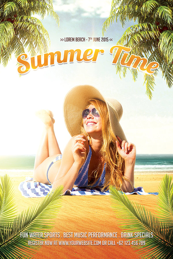 Summer Time Flyer PSD Template
