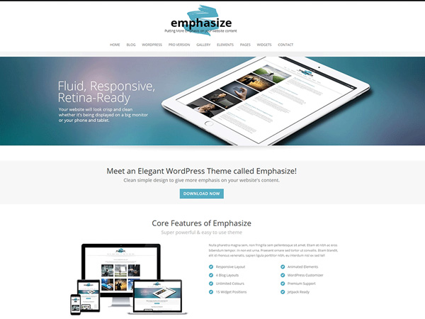 free wordpress themes may 2015 Emphasize