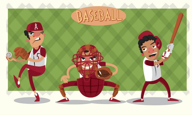 baseball game characters free vector art