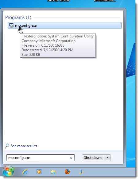 Disable Startup Programs in Windows starting msconfig