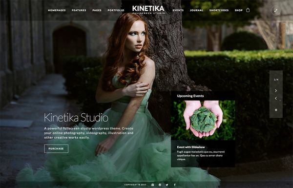 Kinetika Fullscreen Photography WP Theme