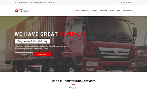 Koncept Transportation WordPress Theme