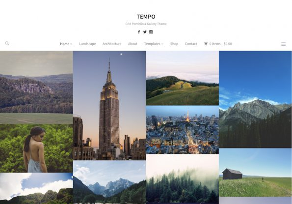 Tempo minimal portfolio WordPress theme