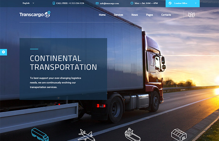 transcargo transportation wp-theme