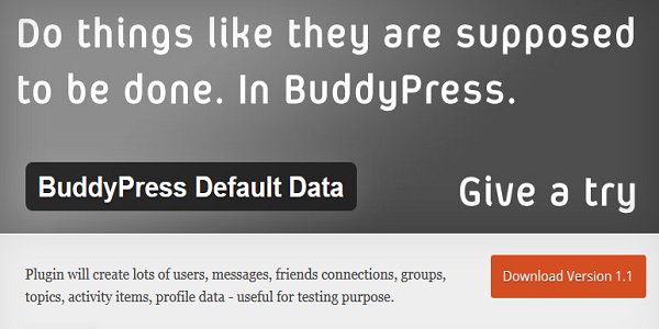 the BuddyPress Default Data Plugin 2