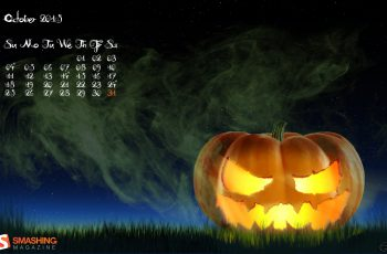 Creepy Pumpkin Desktop Calendars Wallpapers October 2015