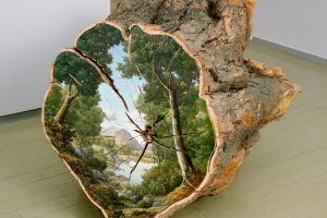 Landscapes Painted on the Surfaces of Cut Logs by Alison Moritsugu 1
