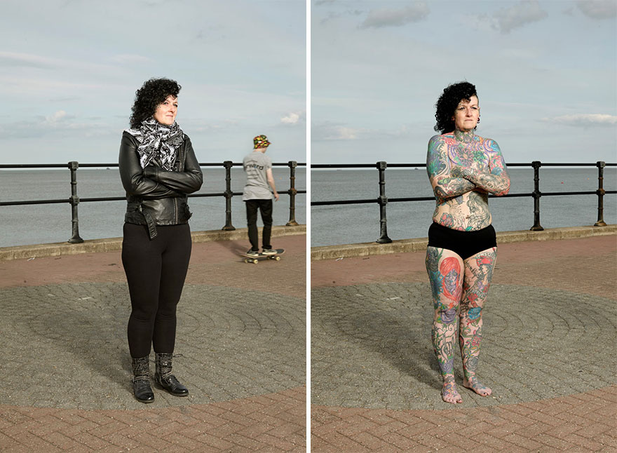 Photographer Reveals What Hides Under Tattooed People's Everyday Clothes 10