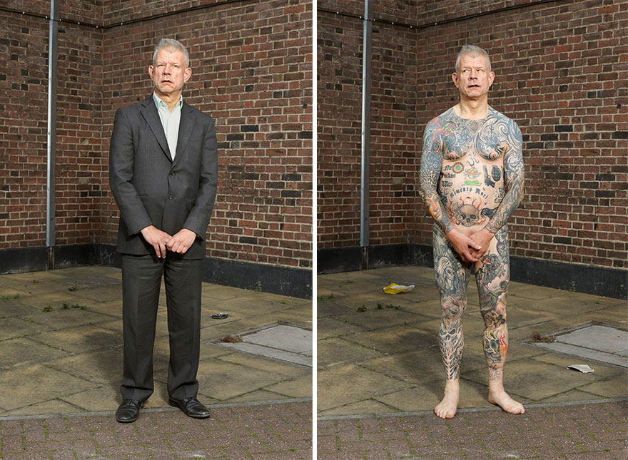 Photographer Reveals What Hides Under Tattooed People's Everyday Clothes 11