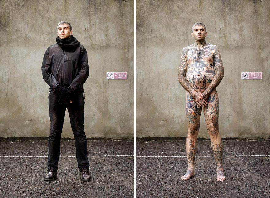 Photographer Reveals What Hides Under Tattooed People's Everyday Clothes 12