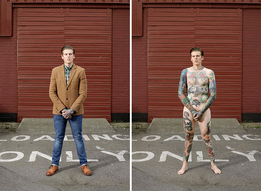 Photographer Reveals What Hides Under Tattooed People's Everyday Clothes 14