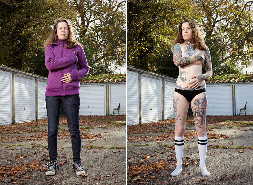 Photographer Reveals What Hides Under Tattooed People's Everyday Clothes 15