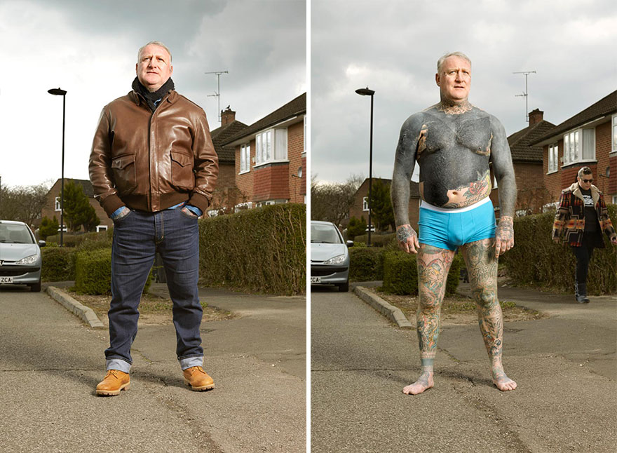 Photographer Reveals What Hides Under Tattooed People's Everyday Clothes 16