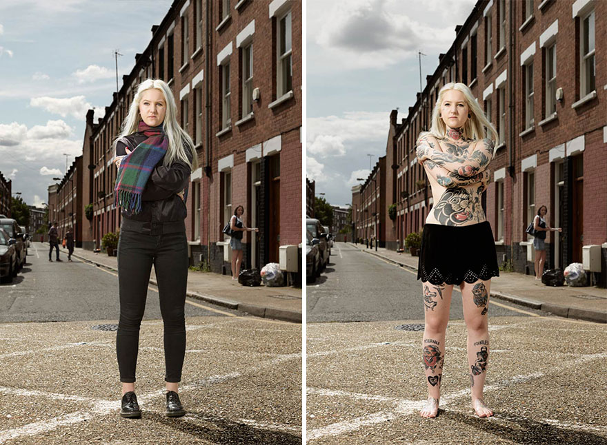 Photographer Reveals What Hides Under Tattooed People's Everyday Clothes 3