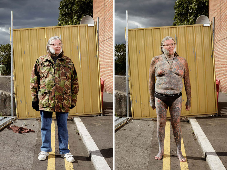 Photographer Reveals What Hides Under Tattooed People's Everyday Clothes 4