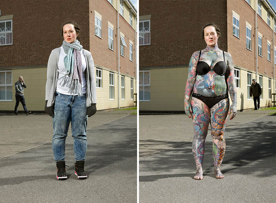 Photographer Reveals What Hides Under Tattooed People's Everyday Clothes 5