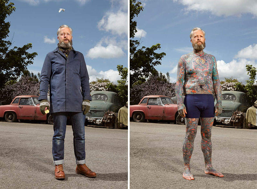 Photographer Reveals What Hides Under Tattooed People's Everyday Clothes 6