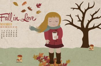 Autumn Love November 2015 Calendars Desktop Wallpaper-2560x1440