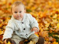 Cute Baby Boy Autumn Leaves Desktop Wallpaper with HD & Widescreen Resolution