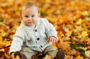 Cute Baby Boy Autumn Leaves Wallpaper-1920x1080