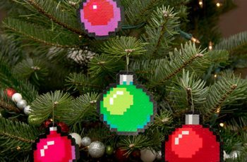 Pixel Art Christmas Tree Ornaments Baubles 1