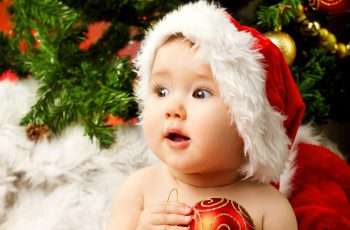 Cute Adorable Baby Santa High-Resolution Wallpaper 2880x1800