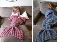 Artist Redesigns Cozy Kids Blankets As Crocheted Mermaid Tails