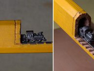 Artist Carves The Tiniest Train out of Pencil Lead