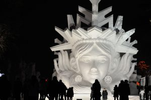 01 Jan 2016, Harbin, Heilongjiang Province, China --- Harbin 1st January 2016 -- People visit the Harbin International Snow Sculpture Art Expo in Sun Island park on January 1, 2015 in Harbin, China. Harbin Ice Sculpture Festival is one of the highlights of the tour, attracts domestic and foreign tourists to visit. -- Night at the Harbin International Snow Sculpture Art Expo in Sun Island park in Harbin, China. Harbin Ice Sculpture Festival is one of the highlights of the tour, attracts domestic and foreign tourists to visit. --- Image by © Tao Zhang/Demotix/Corbis