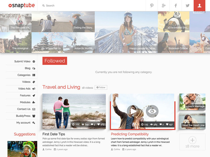 snaptube video wordpress themes