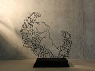 Amazing Wire Sculptures Feature Delicate Figures Emerging from Flowers