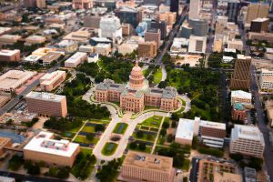 Austin Capitol building aerial tilt shift photography