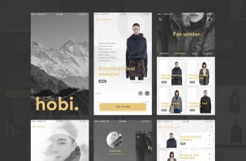 mobile app fashion and ecommerce free psd ui kit 2