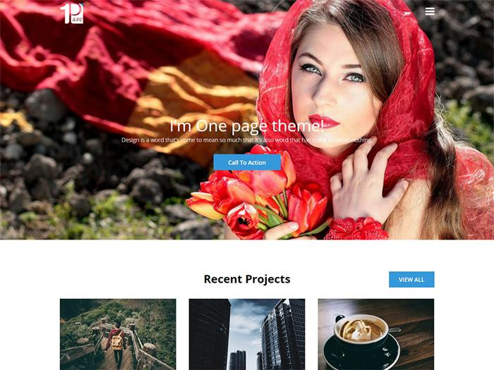One Paze free simple wordpress theme