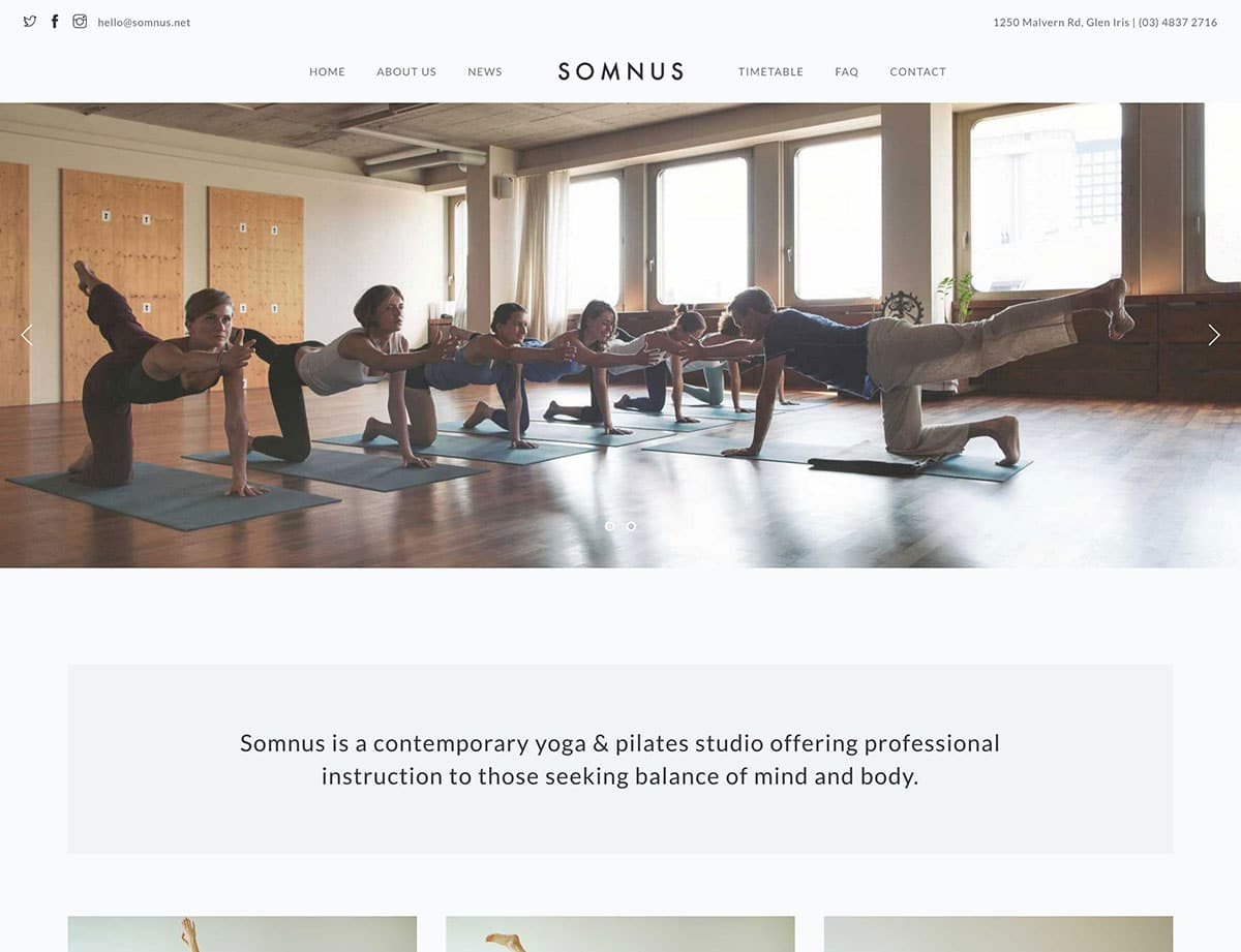 Somnus yoga wordpress theme