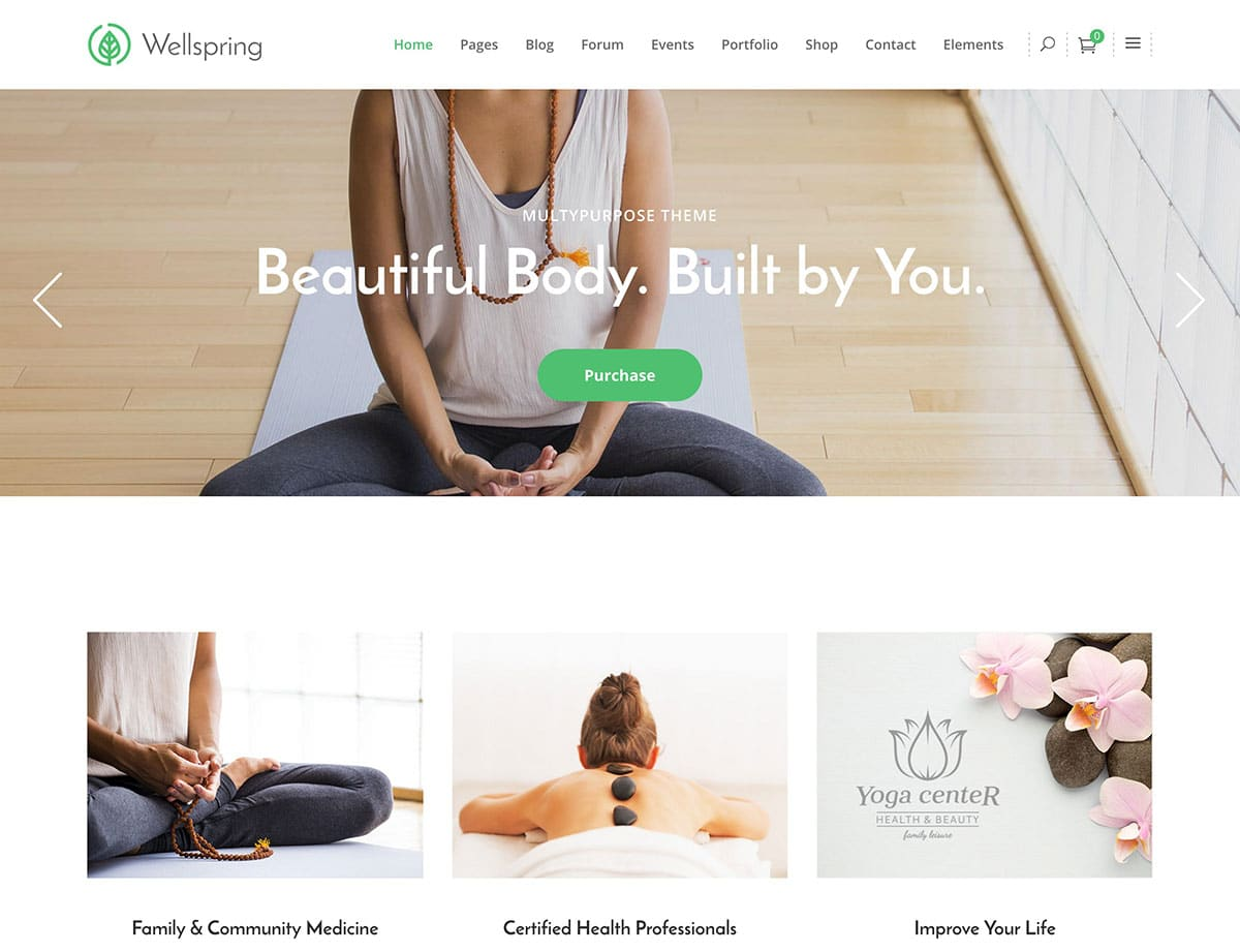 Wellspring yoga wordpress theme
