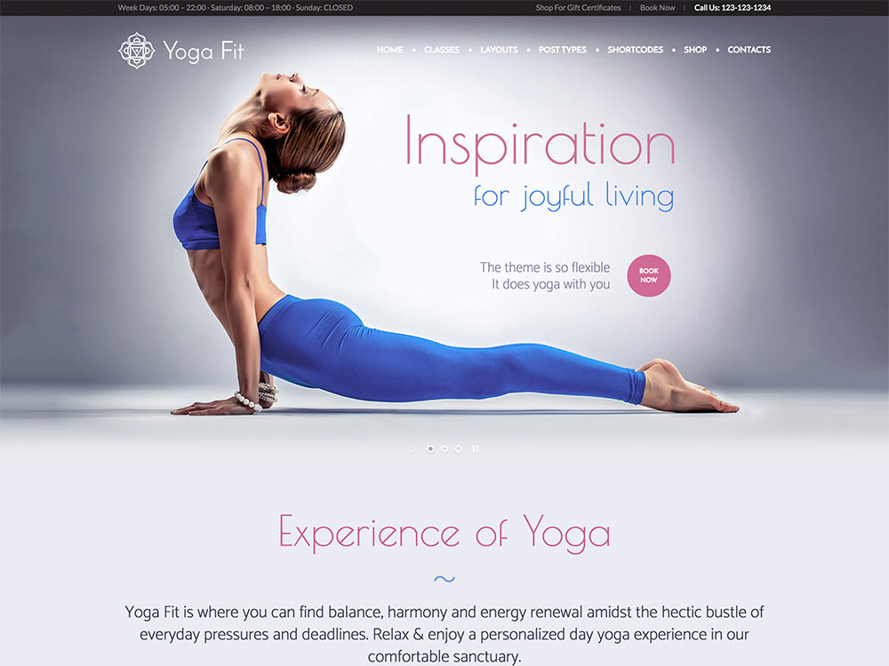 Yoga Fit yoga wordpress theme
