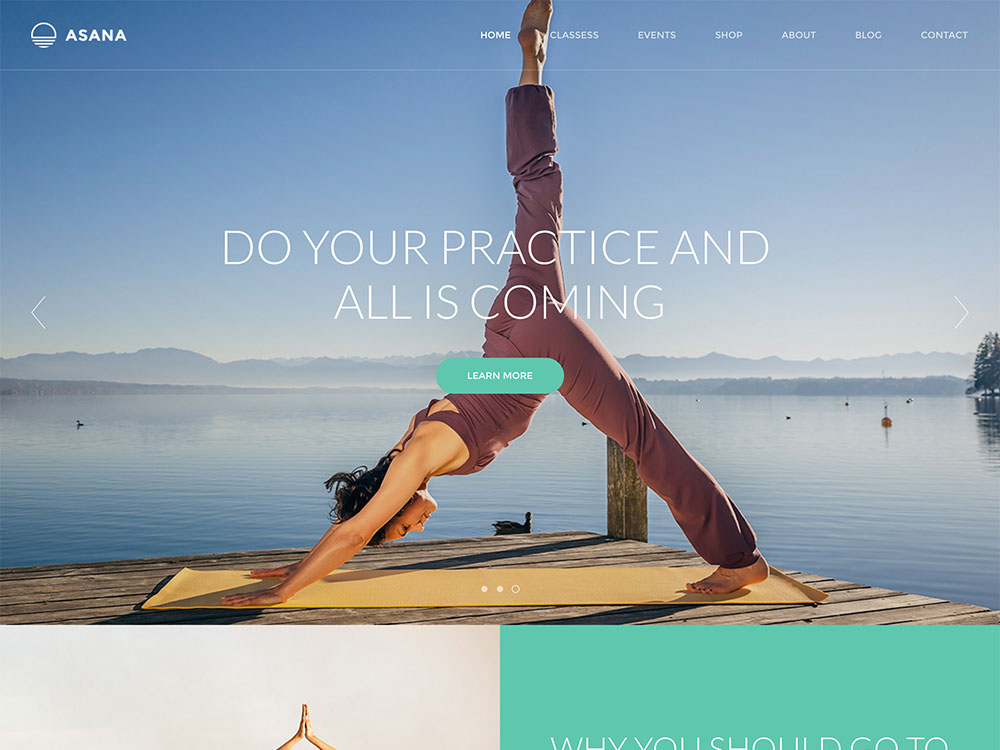 asana yoga wordpress theme